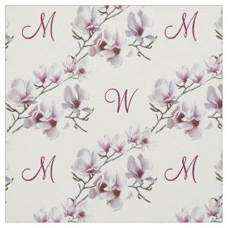 Elegant chic spring Magnolia monogram Fabric