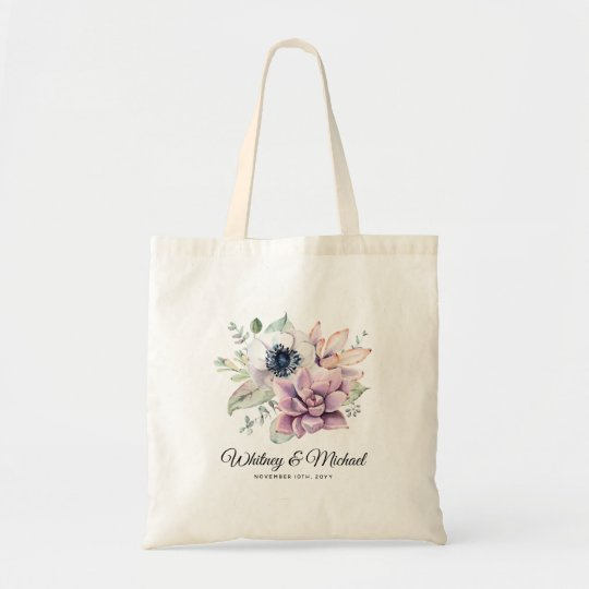 Elegant Chic Succulent Florals Wedding Tote Bag