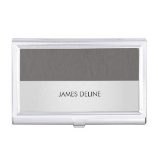 Elegant Chic Texture Grey Silver Business Card Holder