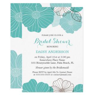 Elegant Chic Turquoise Green Floral Bridal Shower 13 Cm X 18 Cm Invitation Card