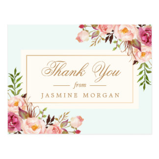 Elegant Chic Watercolor Flowers Thank You Postcard