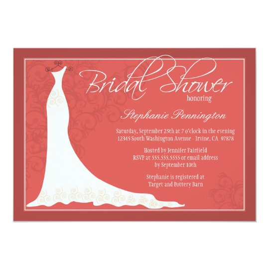 Elegant chic wedding dress bridal shower invite
