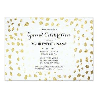 Elegant chic white faux gold polka dots pattern card