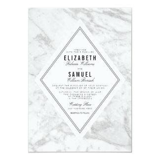 Elegant Chic White Grey Marble Wedding Invitation