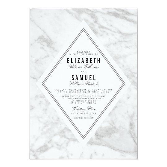 Elegant Chic White Grey Marble Wedding Invitation