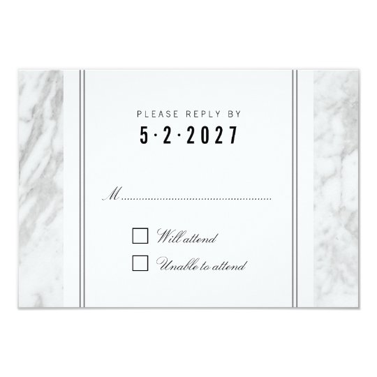 Elegant Chic White Grey Marble Wedding RSVP Card