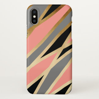elegant chick abstract gold black grey coral pink iPhone x case