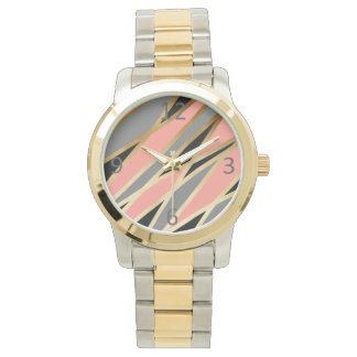 elegant chick abstract gold black grey coral pink watch