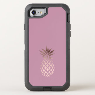 elegant chick clear rose gold tropical pineapple OtterBox defender iPhone 8/7 case