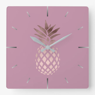 elegant chick clear rose gold tropical pineapple square wall clock