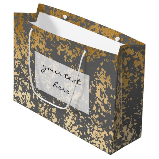 elegant chick faux gold and grey brushstrokes large