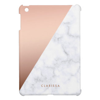 elegant chick geometric white marble rose gold iPad mini cover