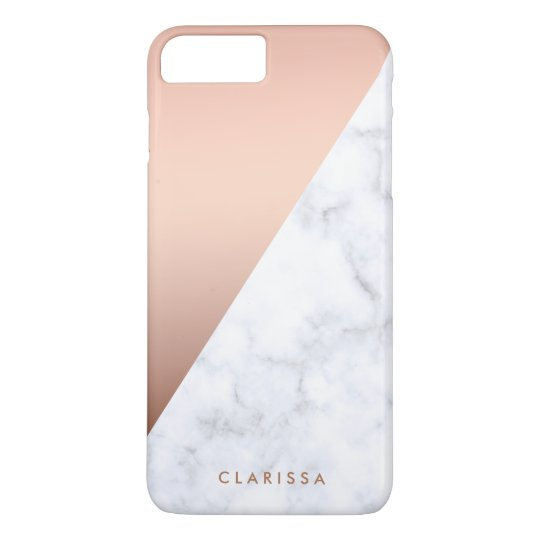 elegant chick geometric white marble rose gold iPhone