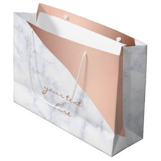elegant chick geometric white marble rose gold large gift bag