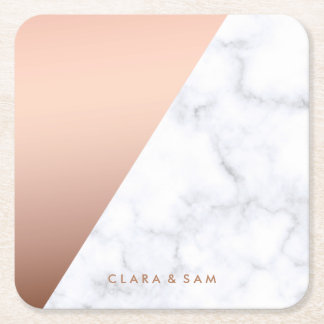 elegant chick geometric white marble rose gold square paper coaster