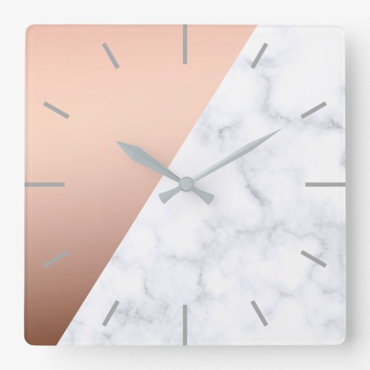 elegant chick geometric white marble rose gold square