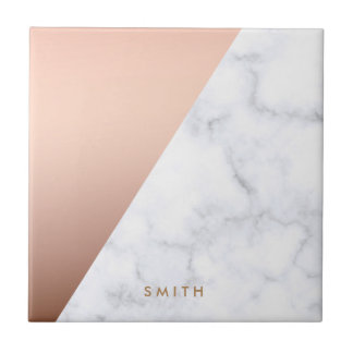 elegant chick geometric white marble rose gold tile