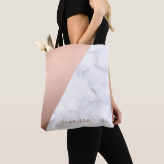 elegant chick geometric white marble rose gold tote bag