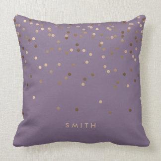 elegant chick glam rose gold confetti dots violet cushion