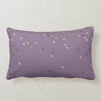 elegant chick glam rose gold confetti dots violet lumbar cushion