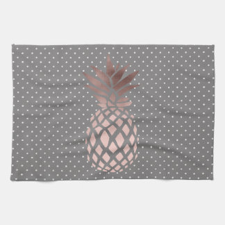 elegant chick rose gold foil pineapple polka dots towel