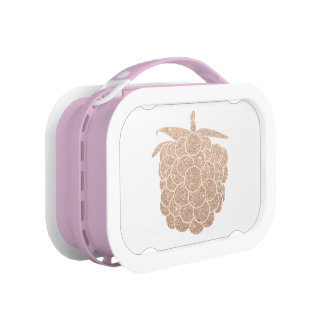 elegant chick rose gold glitter berry lunch box