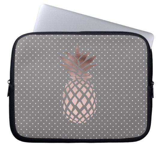 elegant chick rose gold pineapple polka dots laptop