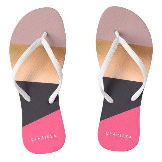 elegant chick rose gold pink grey color block flip flops