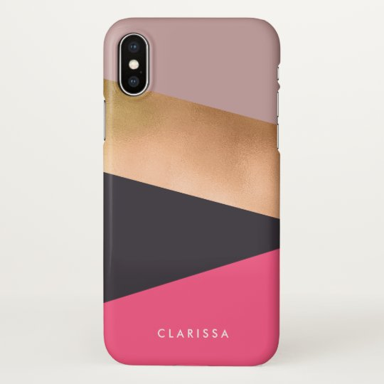 elegant chick rose gold pink grey colour block