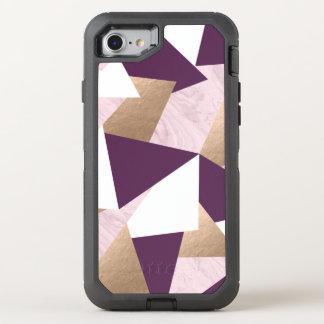 elegant chick rose gold pink marble geometric OtterBox defender iPhone 8/7 case