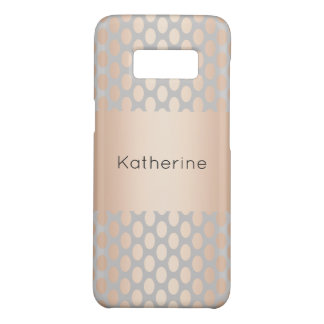 Elegant Chick Rose Gold Polka Dots Pattern Grey Case-Mate Samsung Galaxy S8 Case