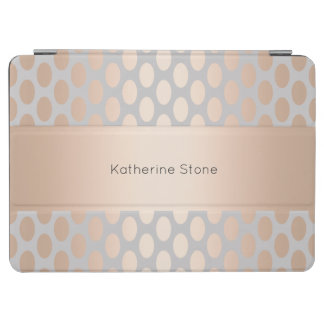 Elegant Chick Rose Gold Polka Dots Pattern Grey iPad Air Cover