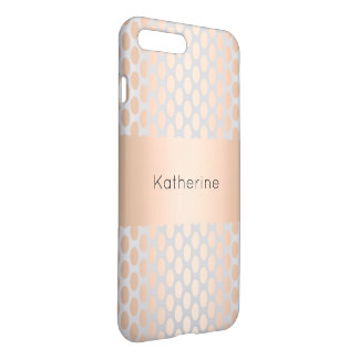 Elegant Chick Rose Gold Polka Dots Pattern Grey iPhone 8 Plus/7 Plus Case