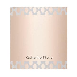 Elegant Chick Rose Gold Polka Dots Pattern Grey Notepad