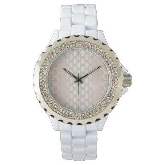 Elegant Chick Rose Gold Polka Dots Pattern Grey Watch