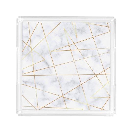elegant chick white marble faux gold geometric acrylic