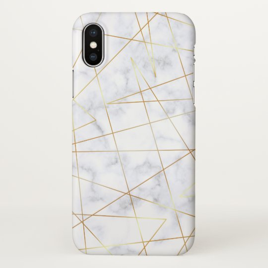 elegant chick white marble faux gold geometric iPhone