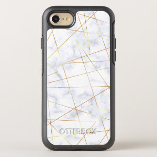 elegant chick white marble faux gold geometric OtterBox symmetry iPhone 8/7 case