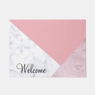 elegant chick white pastel pink marble geometric doormat