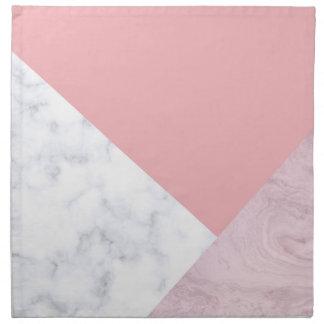 elegant chick white pastel pink marble geometric napkin