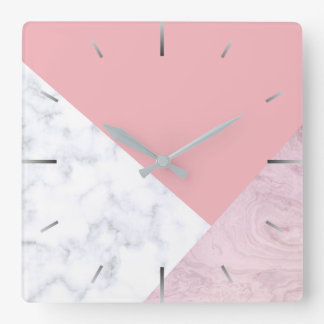 elegant chick white pastel pink marble geometric square wall clock