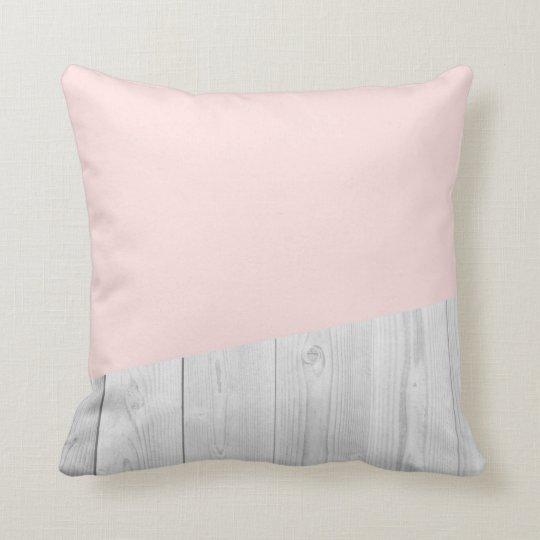 elegant chick white pastel pink wooden geometric cushion