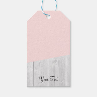 elegant chick white pastel pink wooden geometric gift tags