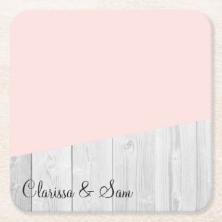 elegant chick white pastel pink wooden geometric square paper coaster