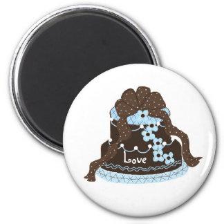 Elegant Chocolate and Blue Cake Fridge Magnets