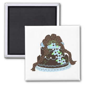 Elegant Chocolate and Blue Cake Magnets