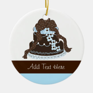 Elegant Chocolate and Blue Designer Cake Christmas Ornament