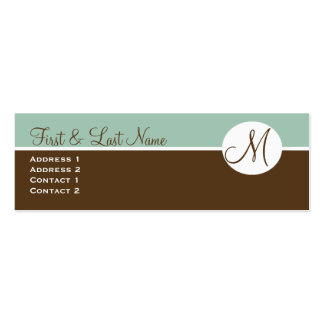 Elegant Chocolate & Blue Monogram Profile Card Pack Of Skinny Business Cards