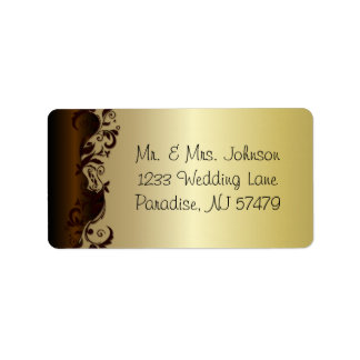 Elegant Chocolate Brown & Gold Florid Wedding Address Label