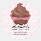 Elegant Chocolate Cupcake Bakery Stickers